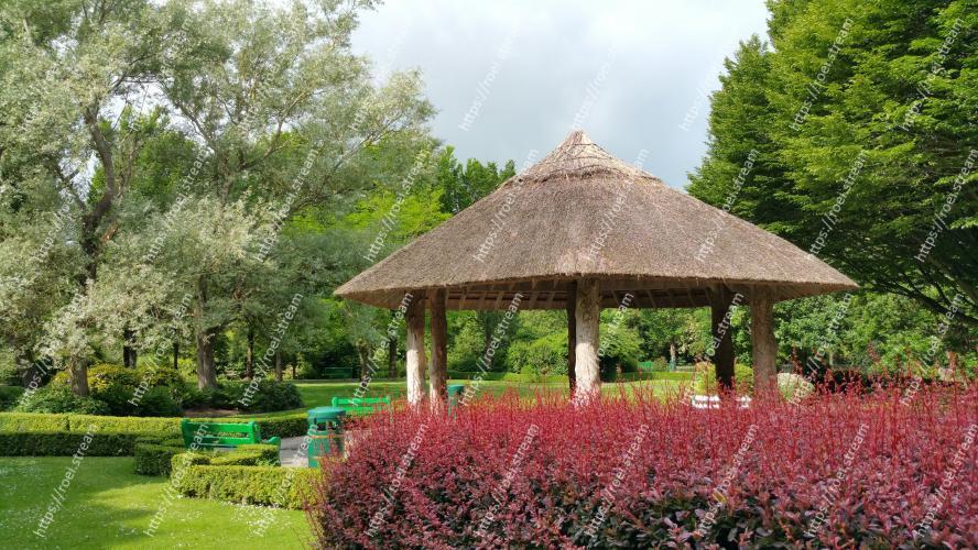 Image of Gazebo, Botanical garden, Garden, Natural landscape, Botany, Pavilion, Spring, Tree, Shrub, Landscaping