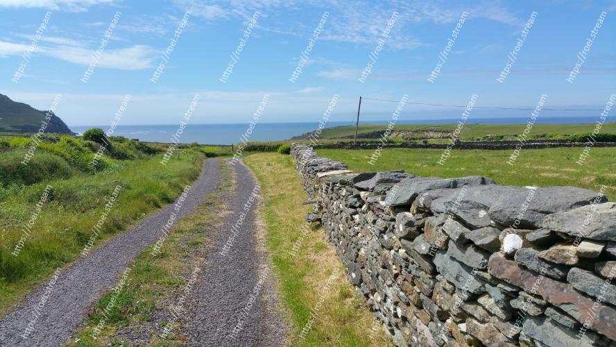 Image of Wall, Stone wall, Raised beach, Rock, Coast, Sea, Road, Grass, Fell, Landscape