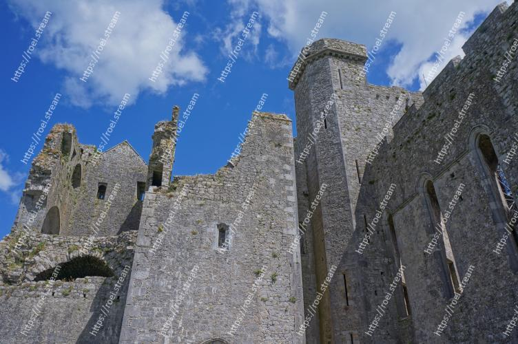 Image of Ruins, Castle, Fortification, Wall, Ancient history, Historic site, History, Building, Sky, Medieval architecture Rock of Cashel