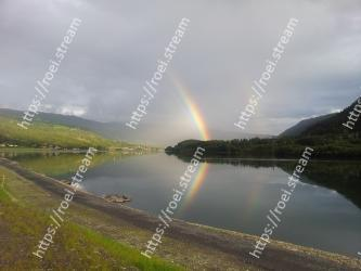 Body of water, Sky, Highland, Nature, Reflection, Rainbow, Water, Loch, Lake, Reservoir