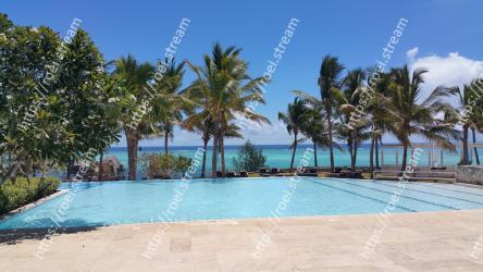 Swimming pool,Resort,Vacation,Property,Tree,Palm tree,Sky,Sea,Caribbean,Arecales