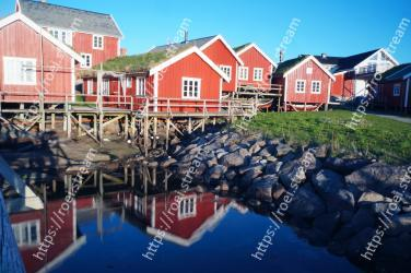 Water,Reflection,House,Harbor,Home,Town,Waterway,Cottage,Building,Tree