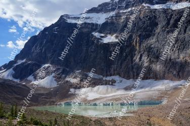 Mountainous landforms, Mountain, Mountain range, Glacial lake, Moraine, Glacial landform, Natural landscape, Wilderness, Highland, Geological phenomenon Mount Edith Cavell, Jasper, Angel Glacier