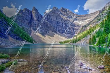 Mountainous landforms, Mountain, Natural landscape, Body of water, Nature, Tarn, Wilderness, Lake, Glacial lake, Reflection Lake Agnes