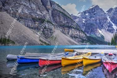 Nature, Water transportation, Boat, Mountain, Boating, Canoe, Vehicle, Mountainous landforms, Wilderness, Natural landscape Moraine Lake