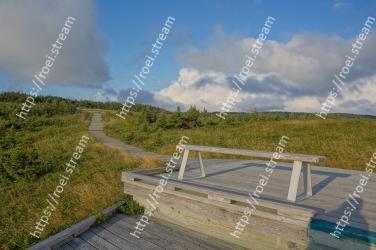 Sky, Cloud, Nature reserve, Boardwalk, Grass, Hill, Landscape, Walkway, Mountain, Land lot