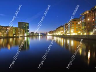 Reflection, Sky, Water, Night, River, Blue, Waterway, City, Metropolitan area, Light