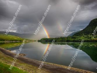Sky, Reflection, Nature, Water, Natural landscape, Green, Highland, Lake, Loch, Rainbow