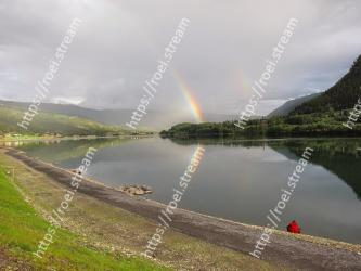 Body of water, Sky, Nature, Water, Highland, Reflection, Rainbow, Lake, Reservoir, Loch