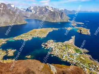 Aerial photography, Natural landscape, Cape, Promontory, Mountain, Sky, Inlet, Coastal and oceanic landforms, Coast, Fjord Reine