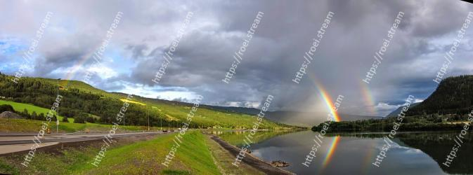 Rainbow, Sky, Nature, Natural landscape, Cloud, Meteorological phenomenon, Water, Landscape, Highland, River